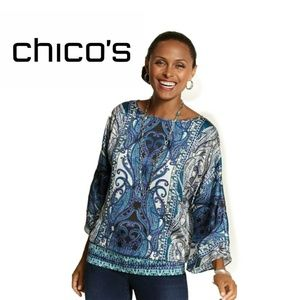 CHICO'S Women's Blouse Brielle II Top 3/4  Sleeve